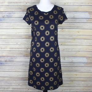 Boden Coralie Sunburst Shirt Dress Navy Blue Gold